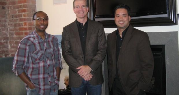 Director Robert Lorenz (center) with videographer J.P. Langston (right) and host Richard R. Lee