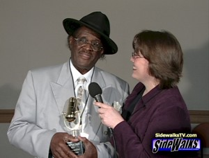 The late Jimmy McCracklin with SIDEWALKS host Cindy Rhodes in 2003.