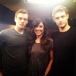 "SIDEWALKS correspondent Veronica Castro with the stars of ""The Host,"" Jake Abel (left) and Max Irons."
