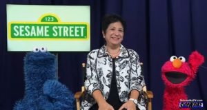 Cookie Monster, Rosemarie Truglio and Elmo