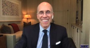 All smiles! Jeffrey Katzenberg is interviewed on Sidewalks Entertainment
